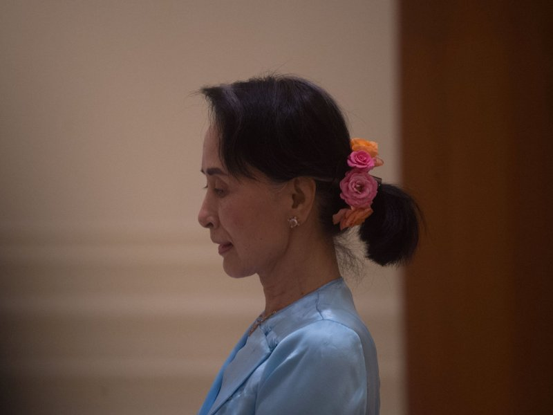 Myanmar State Counsellor Aung San Suu Kyi at the Presidential residence in Naypyidaw on 28 November 2017. Photo: Reuters/Phyo Hein Kyaw