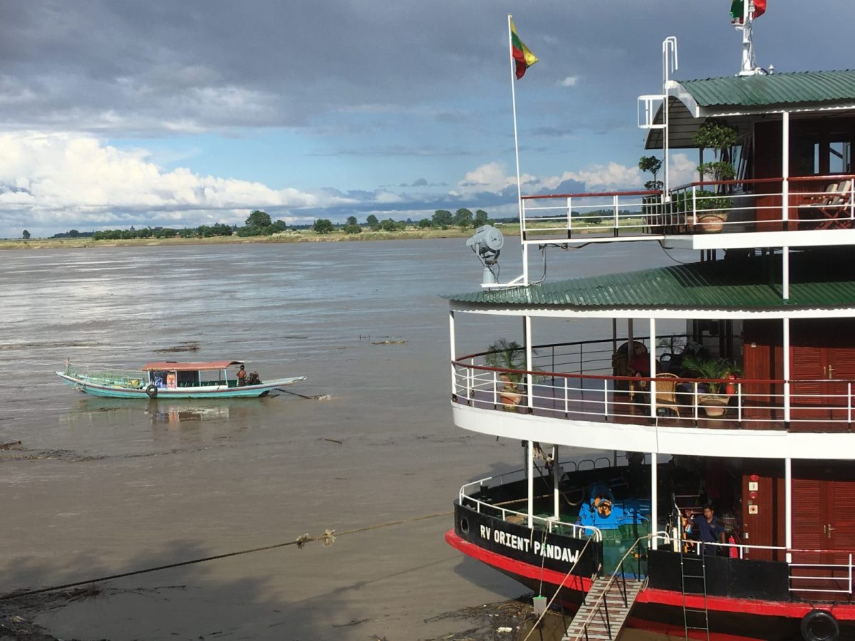 The Pandaw is seen moored by the Irrawaddy. Photo: Julian Ryall
