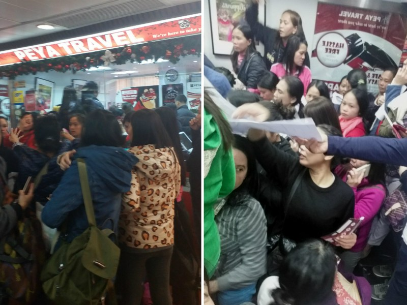 Many domestic workers crowded in the office of Peya Travel in Central. Photo: Irish Tadian Manabogan