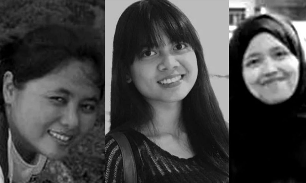 The three winners of the Migrant Worker Poetry Competition. From left: Naive L Gascon (second place), Deni Apriyani (first place), and Fitri Diyah (third place). Photo: Migrant Worker Poetry Competition website