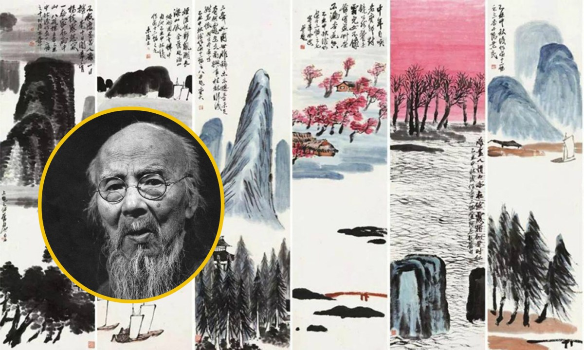 """Qi Baishi (inset) became the highest valued Chinese painter after his """"Twelve Landscape Screens"""" was sold at a record-high price. Photo: Wikimedia Commons"""