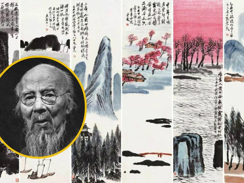 "Qi Baishi (inset) became the highest valued Chinese painter after his ""Twelve Landscape Screens"" was sold at a record-high price. Photo: Wikimedia Commons"