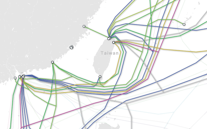 A diagram shows landing locations of Taiwan's submarine cables. Photo: TeleGeography
