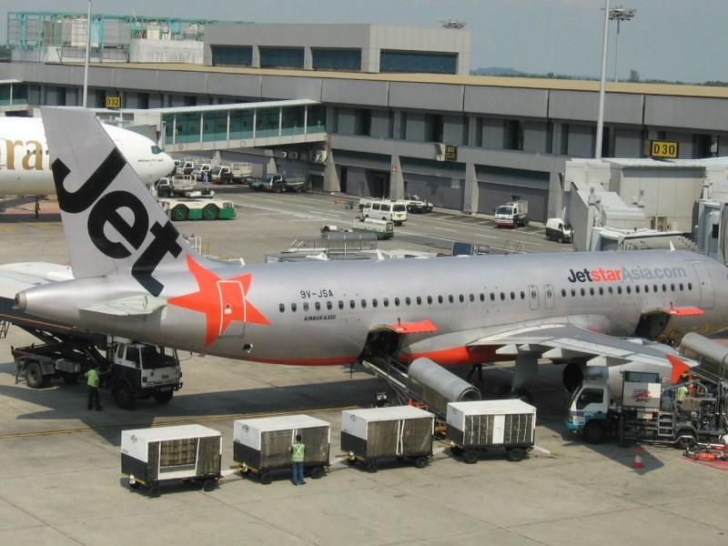 A Jetstar passenger jet at Singapore's Changi Airport. Photo: Wikimedia Commons / Sengkang