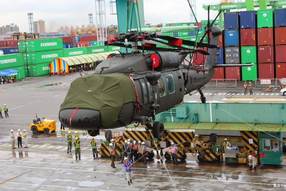 A Black Hawk helicopter being transported from a ship at Taiwan's Kaohsiung port. Photo: Handout