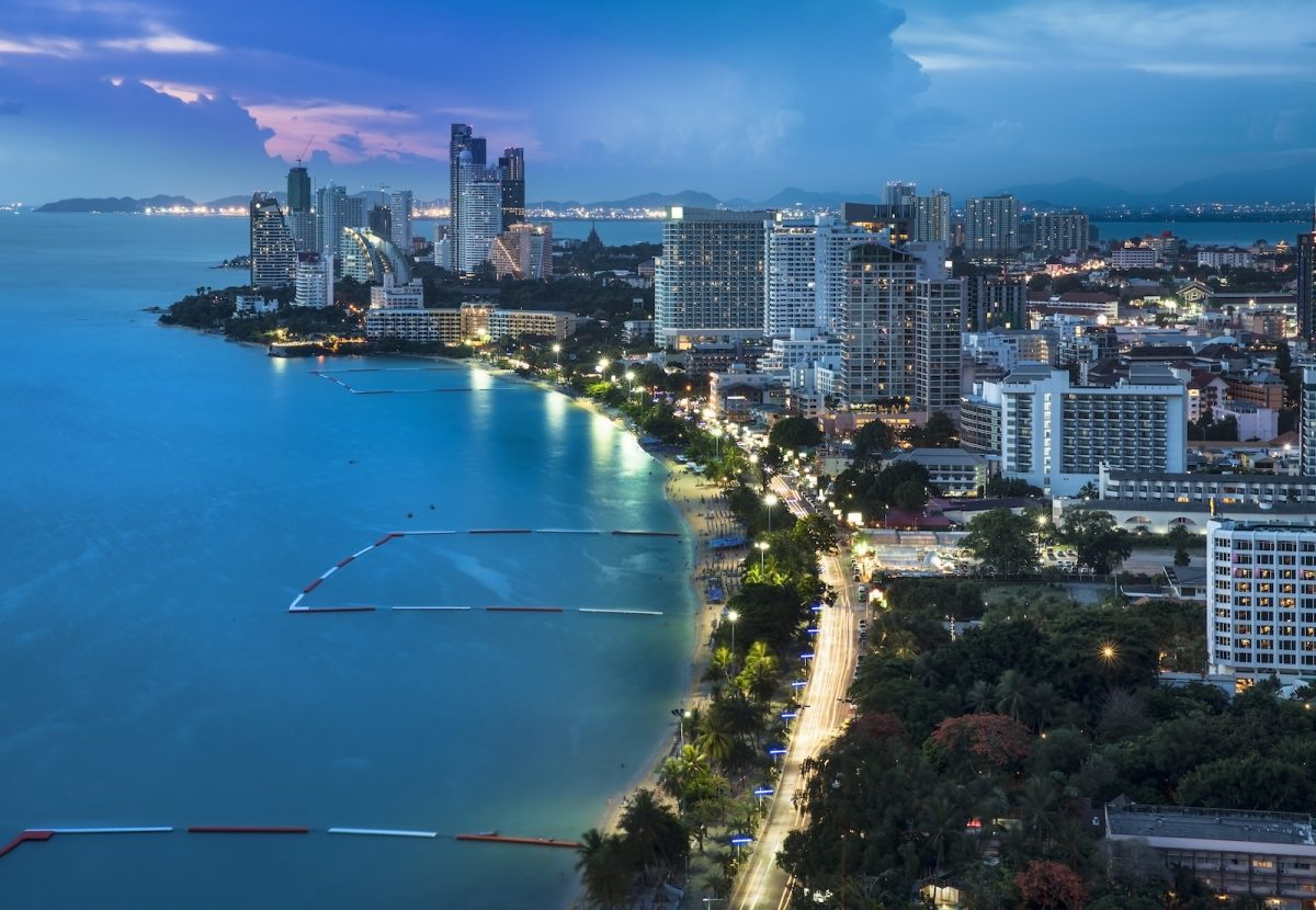 Pattaya is a most popular beach resort with tourists and expatriates. It is located on the east coast of the Gulf of Thailand, southeast of Bangkok in the province of Chonburi.