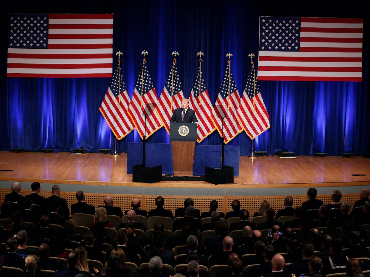 US President Donald Trump delivers remarks regarding his administration's National Security Strategy at the Ronald Reagan Building and International Trade Center in Washington on December 18, 2017. Photo: Reuters / Joshua Roberts