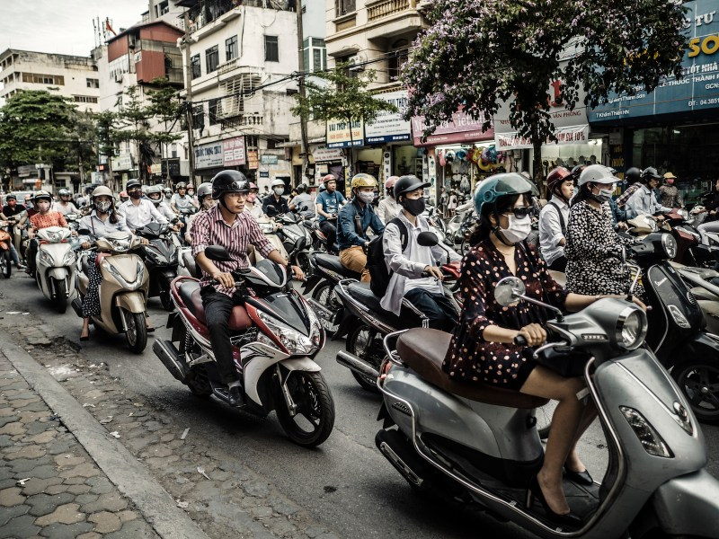 A traffic jam of scooters and motorcycles in Hanoi, Vietnam. The city is known for its chaotic traffic. Photo: iStock/Getty Images