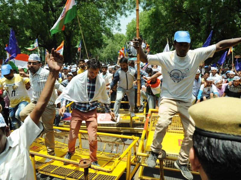 A protest in June demanded the release of Dalit youth leader Chandrashekhar Azad Ravanand, jailed without bail under India's National Security Act. Photo: The Times of India/Rajesh Mehta