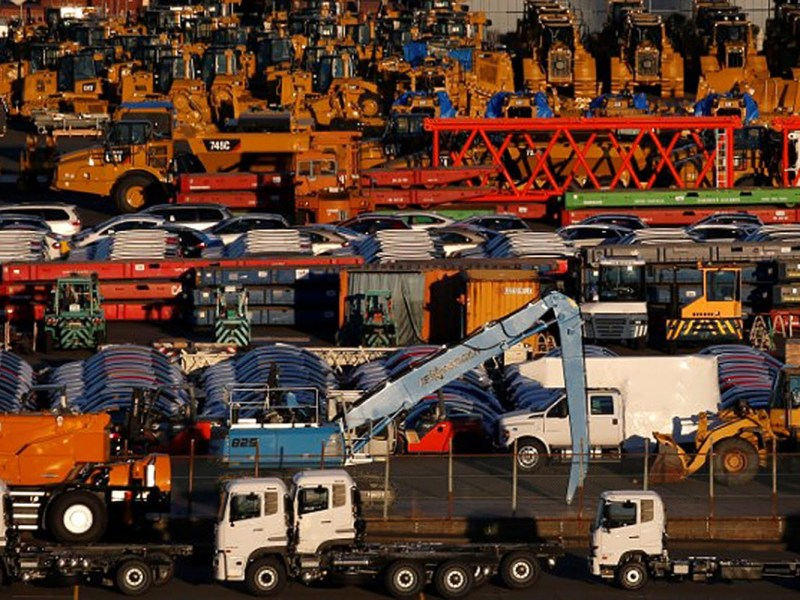 Newly manufactured vehicles await export at a port in Yokohama, Japan in January of 2017. Photo: Reuters / Toru Hanai