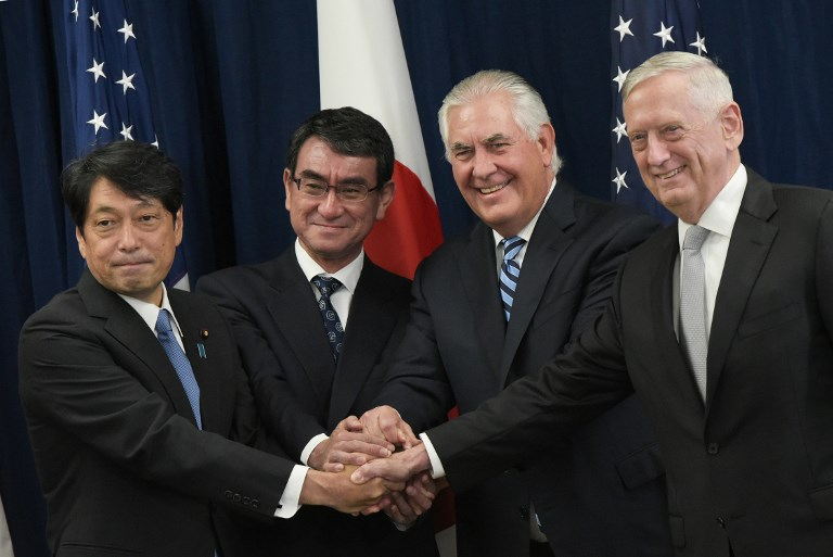 US Secretary of State Rex Tillerson (2nd R) and Defense Secretary James Mattis (R) poses with Japan's Foreign Minister Taro Kono (2nd L) and Defense Minister Itsunori Onodera (L) ahead of the start of the US-Japan Security Consultative Committee in August. Photo: Reuters / Mandel Ngan