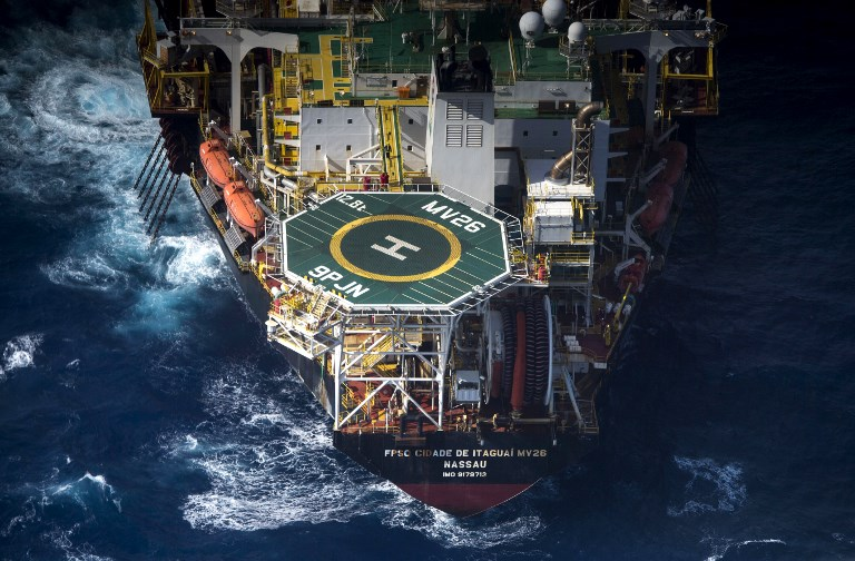 Aerial view of a Floating Production Storage and Offloading Vessel (FSPO) oil platform, operating at Santos basin exploration unit of Pre-Salt off the coast of Brazil. Photo: AFP / Mauro Pimentel