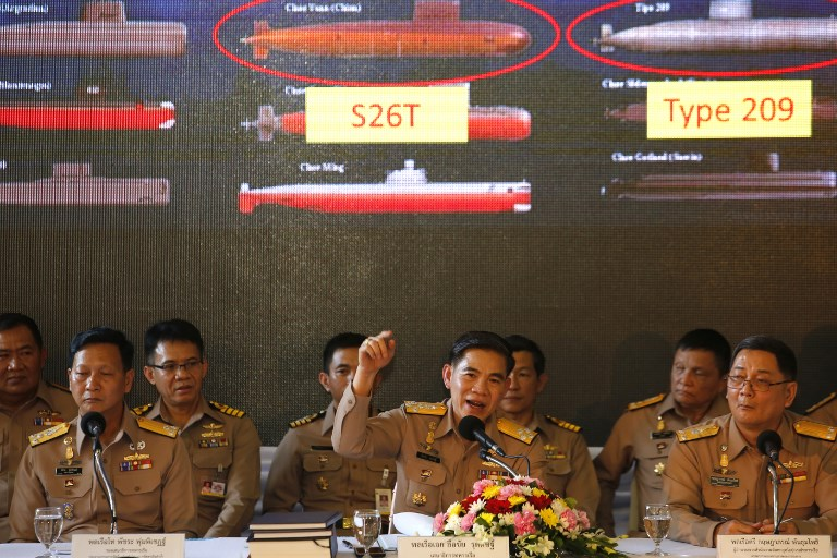 Thailand's Navy chief of staff Adm Luechai Ruddit, middle, chairman of the navy's submarine procurement management panel, addressing a press conference last April to clear up questions raised over the controversial purchase of Chinese submarines. Photo: Bangkok Post via AFP / Wichan Charoenkiatpakul