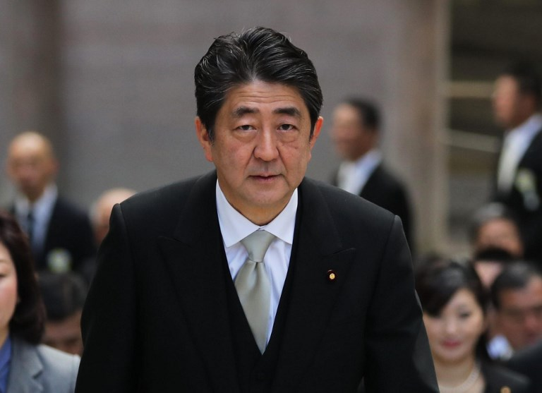 Japanese Prime Minister Shinzo Abe. Photo: The Yomiuri Shimbun via AFP