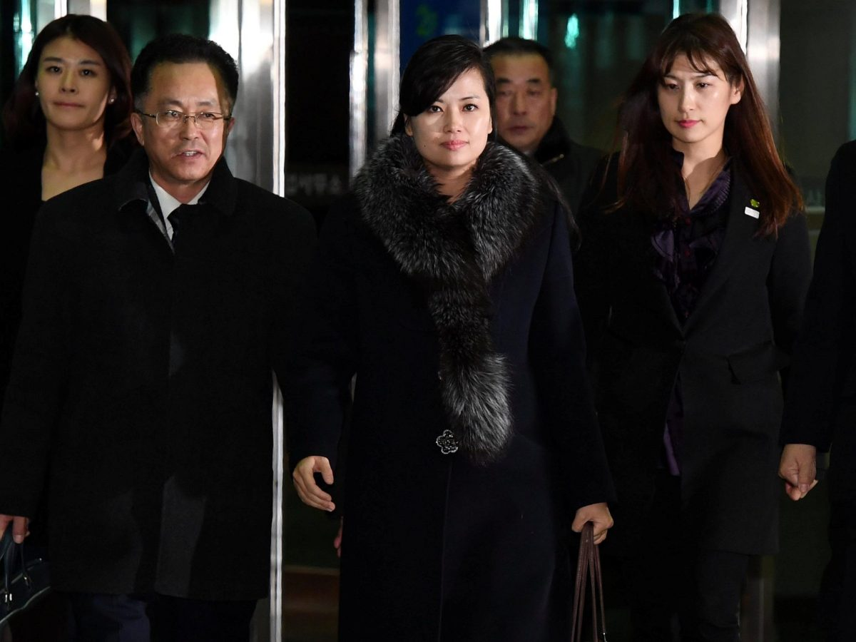 Hyon Song Wol, head of North Korea's Samjiyon Orchestra, arrives at the South's CIQ (Customs, Immigration and Quarantine) as she heads back to North Korea, on January 22, 2018. Photo:  Yonhap via Reuters