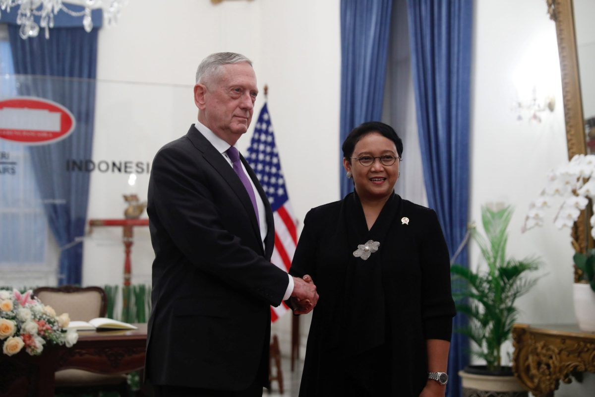 Visiting US Secretary of Defense Jim Mattis shakes hands with Indonesia's Minister of Foreign Affairs Retno Marsudi in Jakarta. Photo: Reuters/Darren Whiteside
