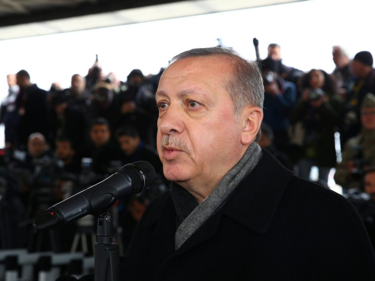 Turkey's President Tayyip Erdogan attends the funeral ceremony, in Ankara, of Musa Ozalkan, a Turkish soldier who was killed during the operation against Syrian Kurds in Afrin region. Photo: Kayhan Ozer / Presidential Palace / handout via Reuters, January 23, 2018