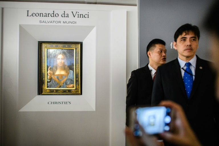 Jerry Lee (right) is seen at a Christie's exhibition of Leonardo da Vinci's 'Salvator Mundi' in Hong Kong in October 2017. Photo: AFP