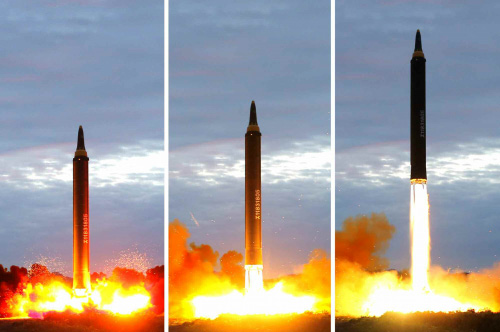 File photos show the launch of a North Korean Hwasong-12 missile. Photos: Handout