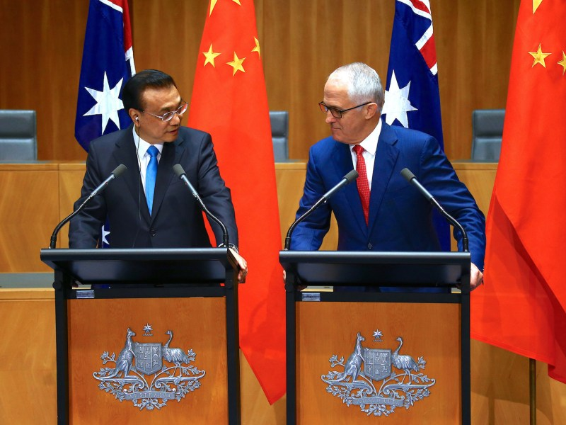 Australia's Prime Minister Malcolm Turnbull (R) and Chinese Premier Li Keqiang (L) attend a press conference at Parliament House in Canberra on March 24, 2017.Photo: AFP/David Gray