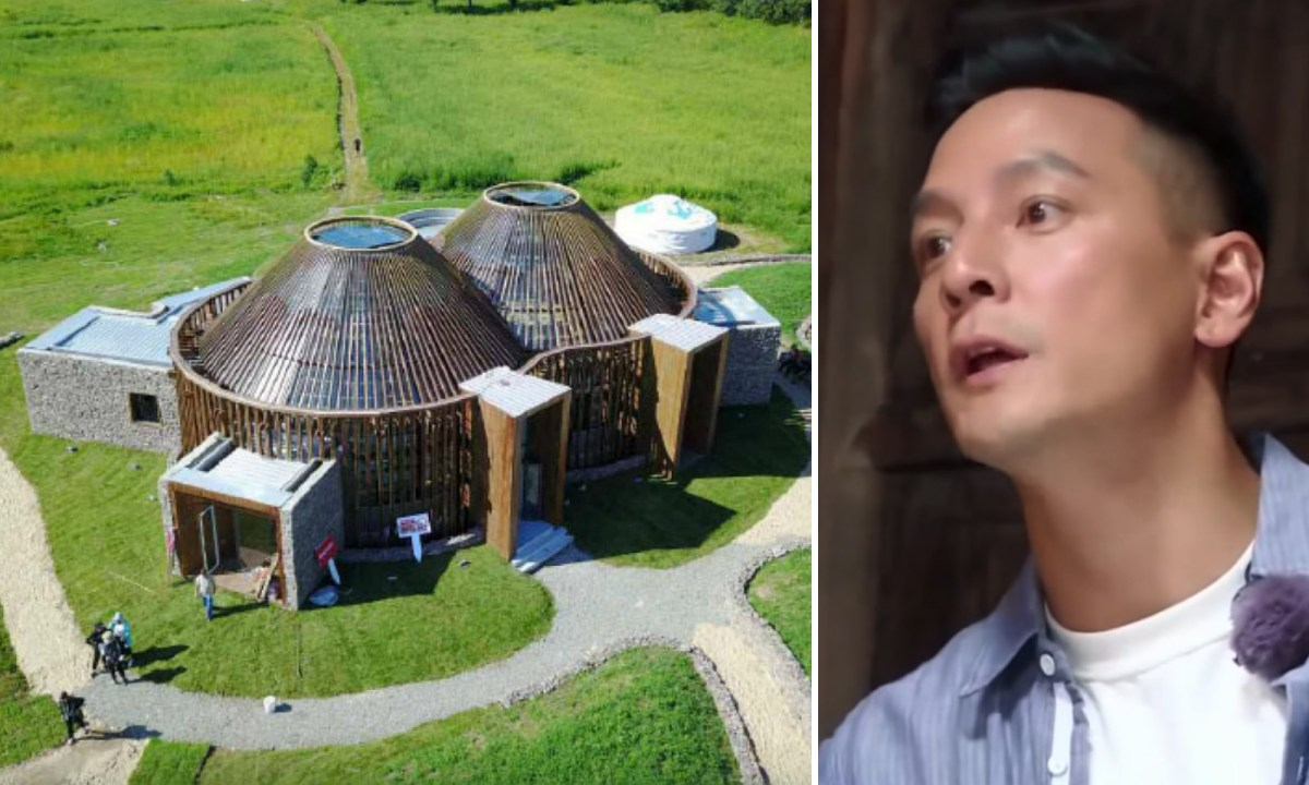 "Movie star Daniel Wu is considered a ""Male God"" by female fans.  Left, the building he co-designed. Photo: Zhejiang Satellite TV"