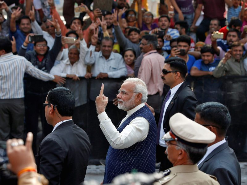 "India's Prime Minister Prime Minister Narendra Modi after voting in last month's Gujarat state assembly election. His government's ""bonds"" scheme has come under fire. Photo:  Reuters / Amit Dave"