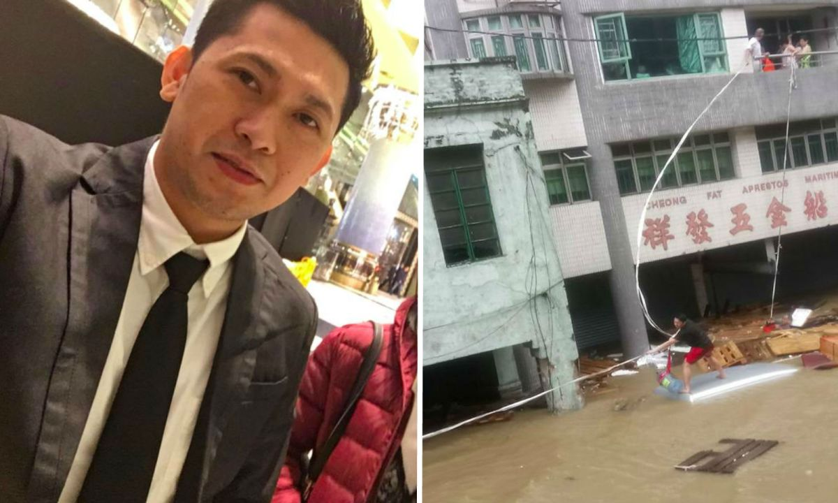 Loreto de Guia Mijares Jr rescued an elderly couple after Typhoon Hato hit Macau in August 2017. Photos: Facebook, Loreto de Guia Mijares Jr, Nafe Mercader Mijares