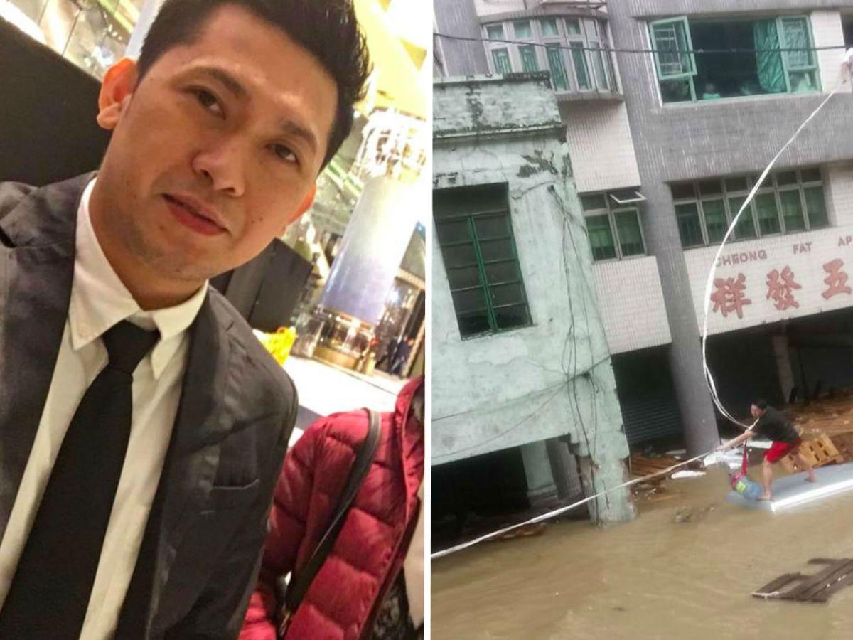 Loreto de Guia Mijares Jr rescued an elderly couple after Typhoon Hato hit Macau in August 2017. Photos: Facebook, Loreto de Guia Mijares Jr, Nafe Mercader Mijares