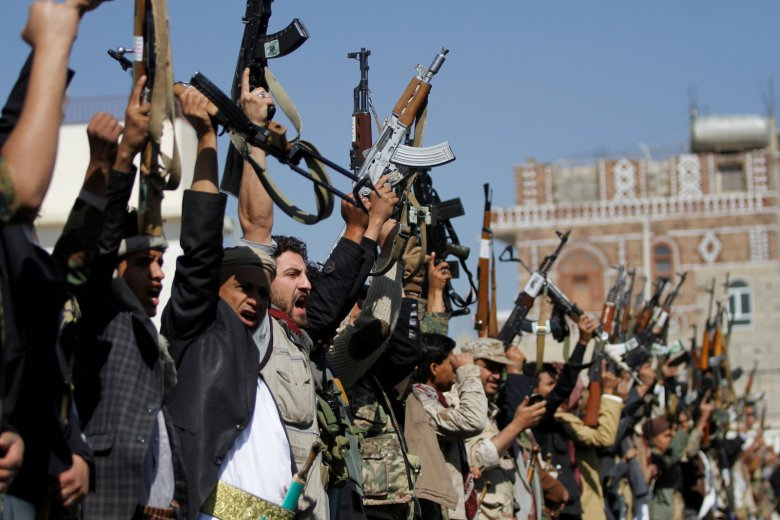 Tribesmen loyal to the Houthi movement mark 1,000 days of the Saudi-led military intervention in the Yemeni conflict, in Sanaa on December 21, 2017. Photo: Reuters / Mohamed al-Sayaghi