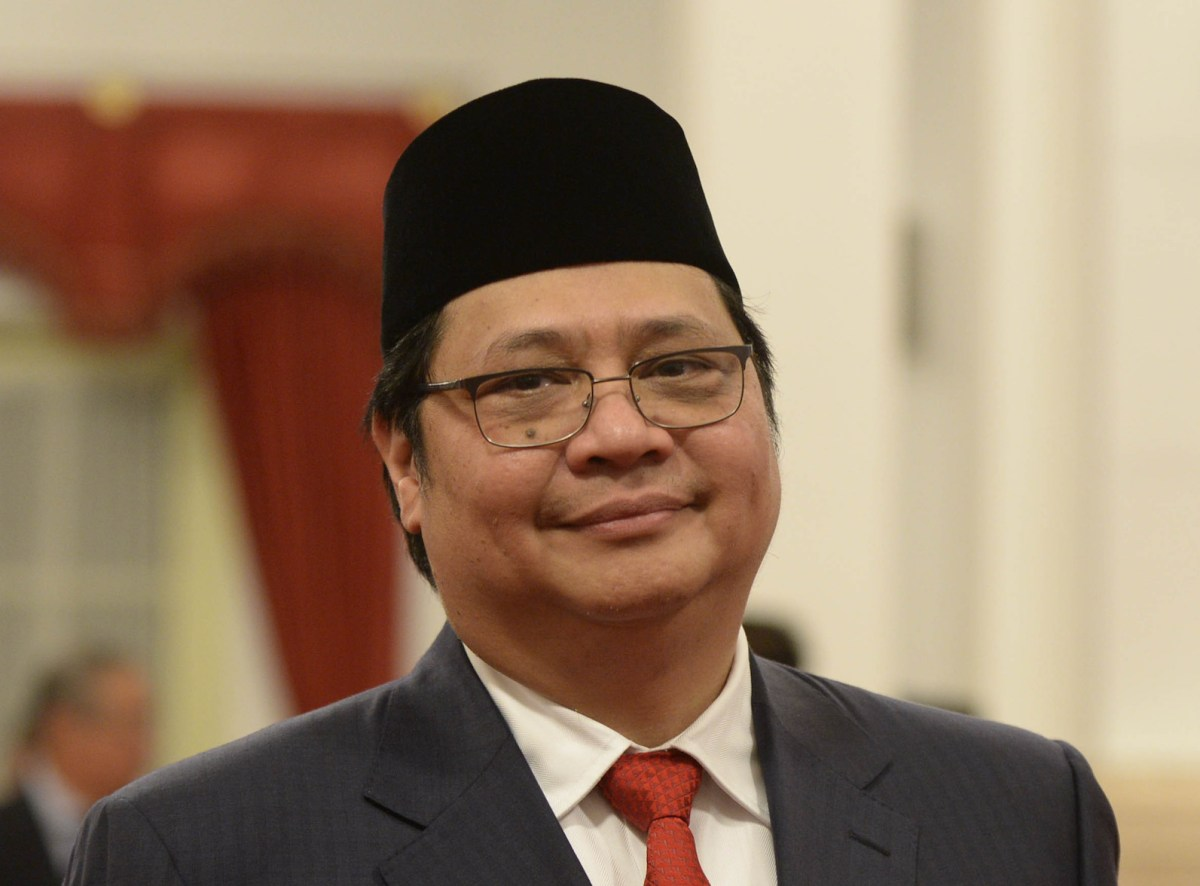 Indonesia's Golkar Party chairman and industry minister Airlangga Hartarto in a 2016 file photo. Photo: AFP