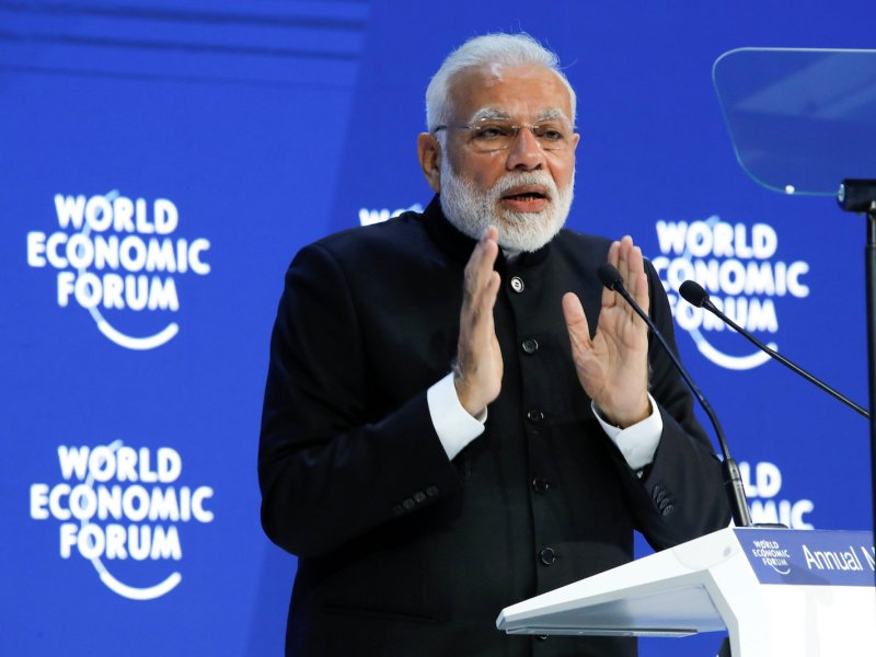 Indian Prime Minister Narendra Modi speaks during the Opening Plenary at the World Economic Forum annual meeting in Davos, Switzerland, on January 23, 2018. Photo: Reuters / Denis Balibouse