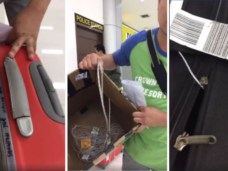 An overseas Filipino worker posted on Facebook that his luggage was stolen at Clark International Airport. Photos: Jov En Ros, Facebook