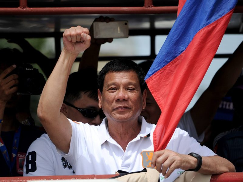Then presidential candidate Rodrigo Duterte raising a clenched fist during his campaign sortie in Lingayen, Pangasinan, north of Manila. Photo: AFP/Noel Celis