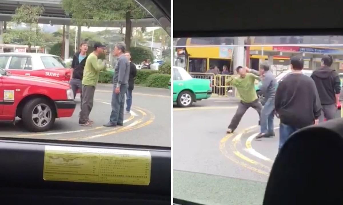 Two drivers fight after a quarrel. Photo: Hong Kong Car Cam@Facebook