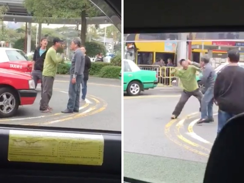 Two drivers fight after a quarrel. Photo: Hong Kong Car Cam@Facebook