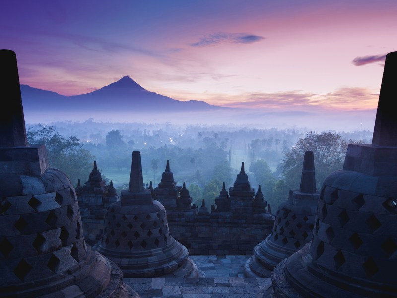Borobudur Temple at sunrise, Yogyakarta, Java, Indonesia. Photo: iStock