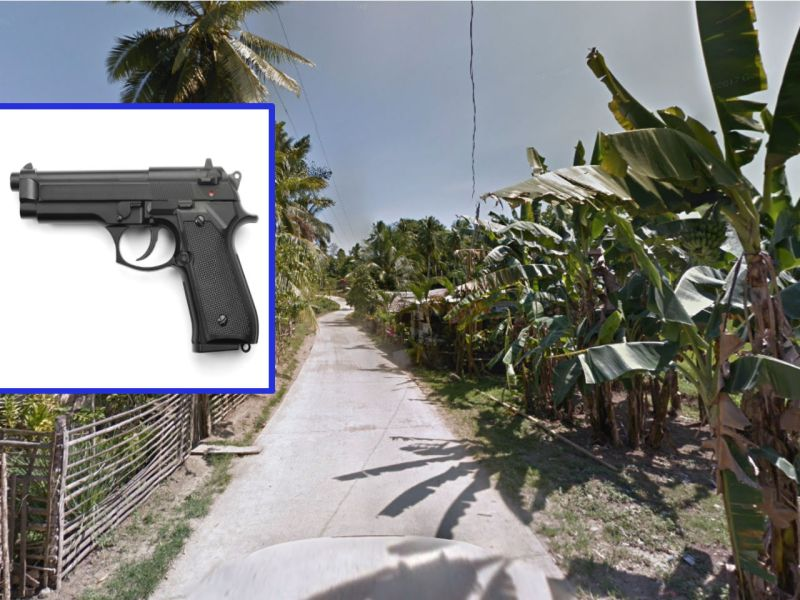 The victim was shot with a 9mm gun like the one in the inset in Zamboanga City. Photos: Google Maps, iStock