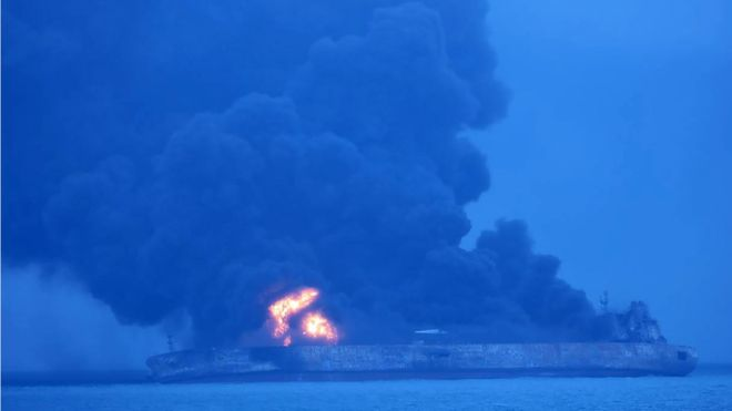 The tanker carrying Iranian crude burst into flames after hitting the Chinese vessel off Shanghai on Saturday evening. Photo: AFP
