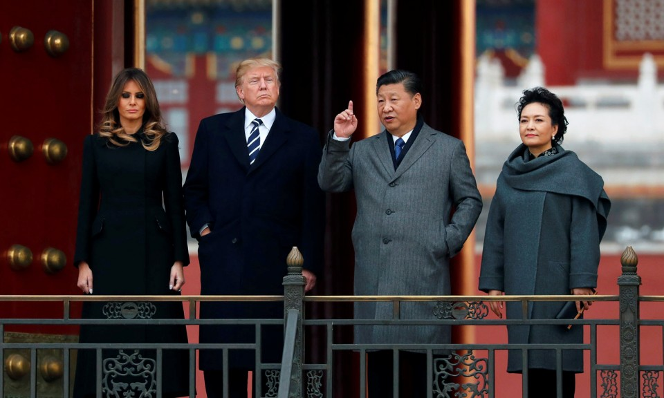 2017年11月10日,美国总统特朗普和玛莲妮雅与中国国家主席习近平和中国第一夫人彭丽媛到访故宫。相片:Reuters / Jonathan Ernst