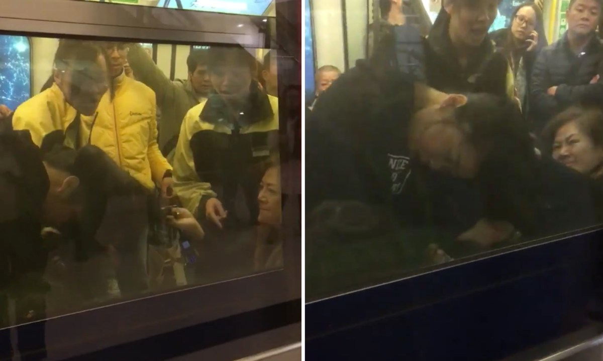 Three women fight on a train at Mei Foo Station, Kowloon. Photo: Facebook