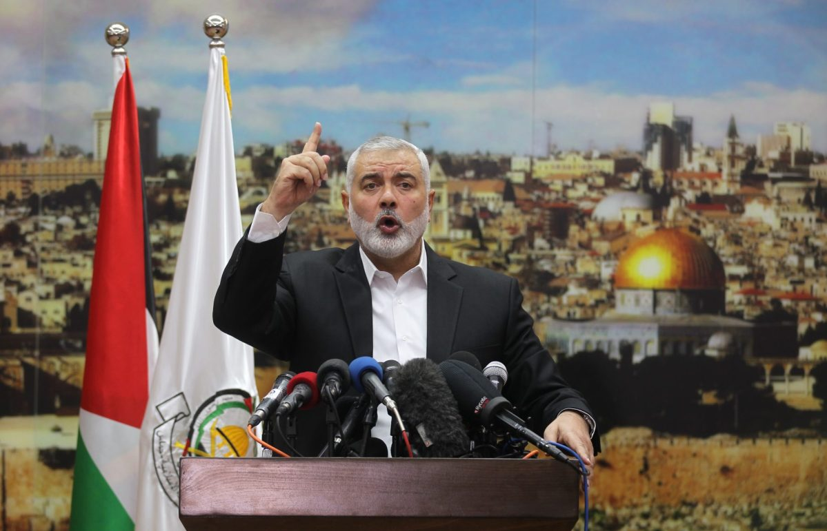 Hamas leader Ismail Haniya delivers a speech on December 7, 2017. Photo: AFP / Said Khatib