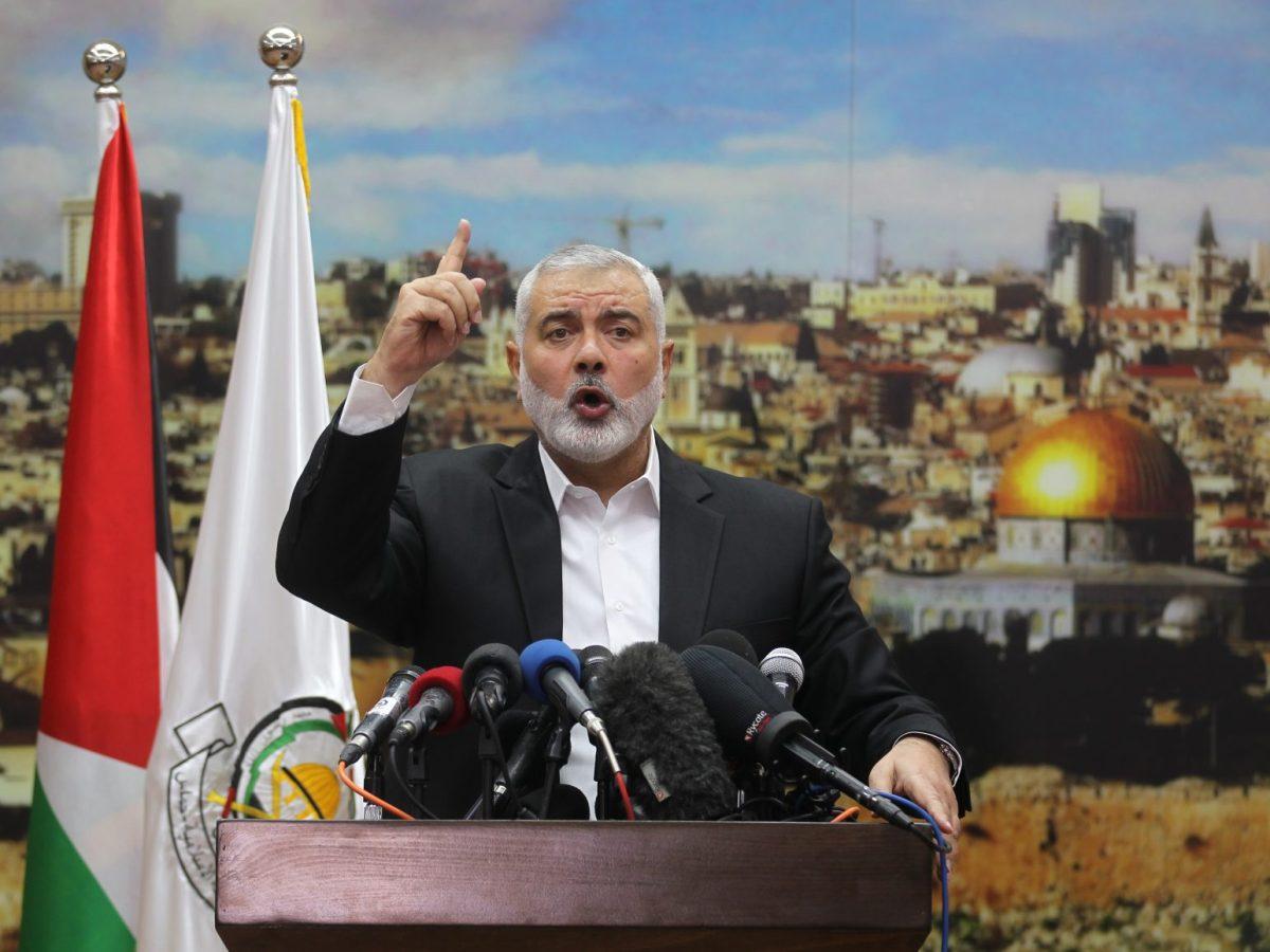 Hamas leader Ismail Haniya delivers a speech on December 7, 2017. Photo: AFP / Said Khatib