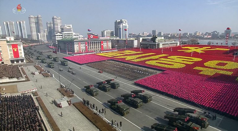 An image from the parade in Pyongyang on February 8. Photo: AFP via KCTV