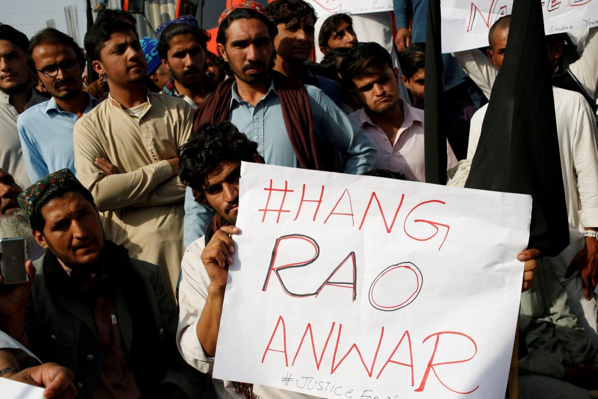 "Protesters condemn the death of Naqibullah Mehsud, whose family say he was killed by police in a so-called ""encounter killing"" in Karachi, Pakistan, on January 22. Photo: Reuters /Akhtar Soomro"