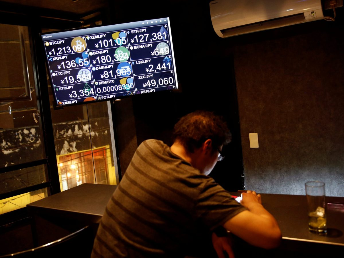 A bar in Tokyo  where customers can pay with NEM digital tokens. The Coincheck exchange lost NEMs worth more than $530 million in a hack in January 2018. Photo: Reuters/Kim Kyung-Hoon