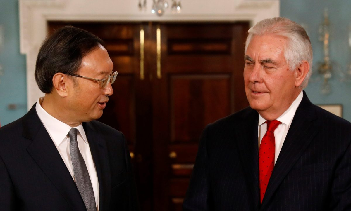 US Secretary of State Rex Tillerson meets with Chinese State Councilor Yang Jiechi at the State Department in Washington, DC. Photo: Reuters/Kevin Lamarque
