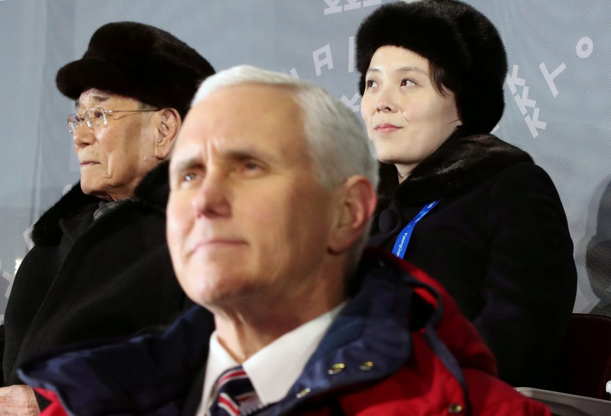 US Vice President Mike Pence, North Korea's nominal head of state Kim Yong-nam, and North Korean leader Kim Jong-un's younger sister Kim Yo-jong attend the Winter Olympics opening ceremony in Pyeongchang, South Korea February 9, 2018.  Yonhap via Reuters