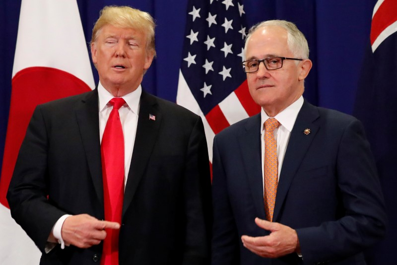 US President Donald Trump jokes with Australia'sPrime Minister Malcolm Turnbull. Photo: Reuters/Jonathan Ernst