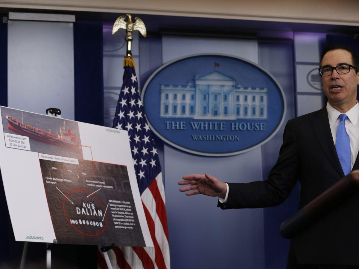 US Treasury SecretarySteven Mnuchin briefs on North Korea at the White House. February 23, 2018. Photo: Reuters/Jonathan Ernst