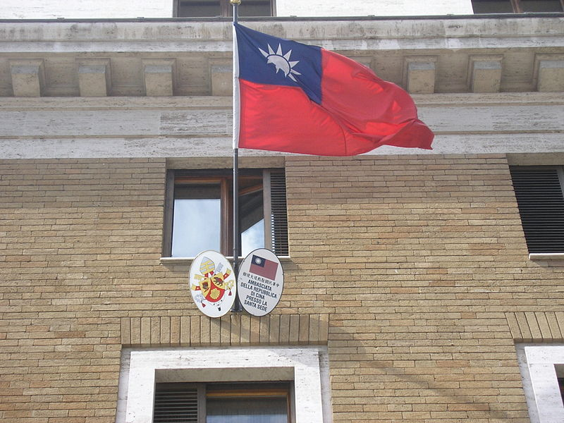 A Republic of China (Taiwan) flag outside the Taiwanese Embassy to the Holy See. The embassy is in Rome, which has no diplomatic ties with Taipei. Photo: Astrotrain/WikiMedia